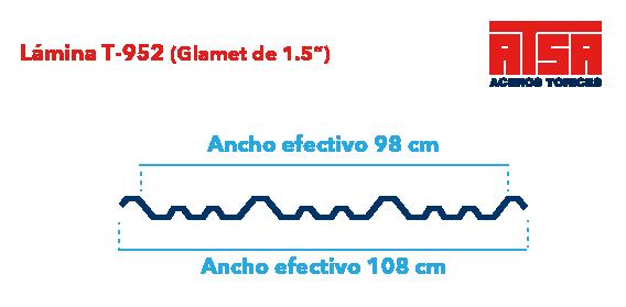 Perfil acanalado T952 (Glamet)